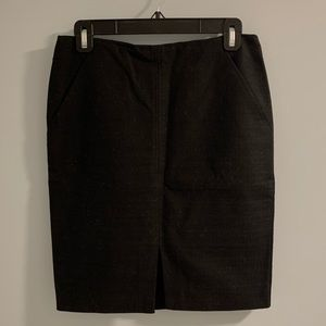 Loft Black Tweed Front Slit Pencil Skirt